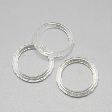 Transparent Acrylic Linking Rings, Faceted, with Glitter Powder, Clear, 36x5mm, Hole: 27mm(X-MACR-Q169-55)