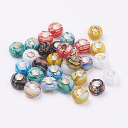 Main millefiori perles au chalumeau européennes, avec des noyaux simples en laiton, rondelle, argenterie, couleur mixte, 10~11x6~7mm, Trou: 4.5mm(LAMP-J079-09)