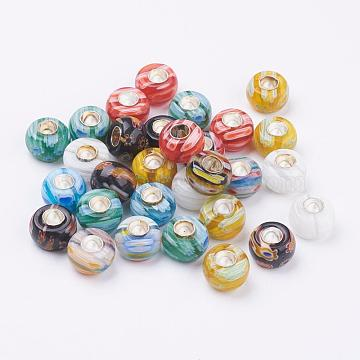10mm Mixed Color Abacus Lampwork+Brass Core Beads
