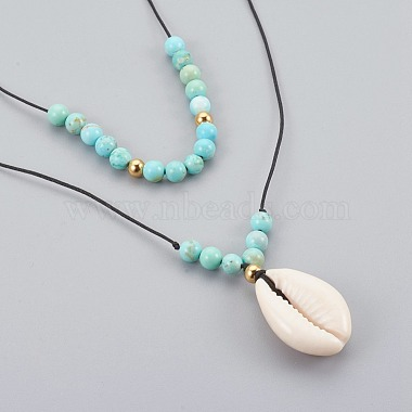 Cowrie Shell Beads Pendants Necklaces Sets(NJEW-JN02299-03)-2