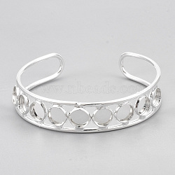 Brass Cuff Bangle Making, Blank Bangle Base, Flat Round, Silver Color Plated, Tray: 8mm; 2-3/8inches(6cm)(X-MAK-S071-01S)