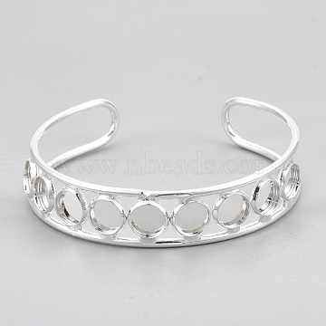 Brass Cuff Bangle Making, Blank Bangle Base, Flat Round, Silver Color Plated, Tray: 8mm, 2-3/8 inches(6cm)(X-MAK-S071-01S)