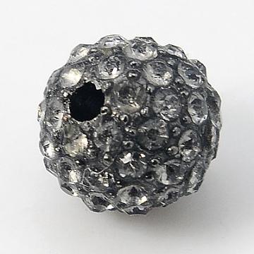 Alloy Rhinestone Beads, Grade A, Round, Gunmetal, Black Diamond, 10mm, Hole: 2mm(X-RB-A034-10mm-A12B)
