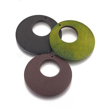 Wood Big Pendants, Flat Round, Dyed, Mixed Color, 60x5mm, Hole: 2mm(X-WOOD-P014-U)