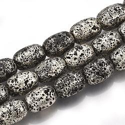 Chapelets de perles en lave naturelle électrolytique, baril, argent antique plaqué, 14~14.5x9.5~10mm, trou: 1mm; environ 27~28 pcs/chapelet, 14.9''~15.5''(G-S249-04-10x14)
