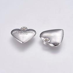 пластмассовые подвески ccb, сердце любовью, на день Святого Валентина, платина, 17.5x17.5x4 mm, отверстия: 2 mm(CCB-G006-146P)