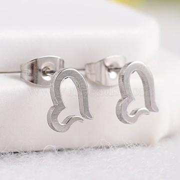 Heart 304 Stainless Steel Stud Earrings, Hypoallergenic Earrings, Stainless Steel Color, 8.5x7mm, Pin: 0.6mm(X-EJEW-F0072-13)
