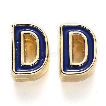 Rack Plating Alloy Enamel Beads, Cadmium Free & Nickel Free & Lead Free, Light Gold, Blue, Letter.D, D: 10x7x5mm, Hole: 1.6mm(X-ENAM-S122-033D-NR)