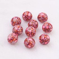 Perles en résine, avec le modèle, rond, camélia, 10mm, Trou: 2mm(GLAA-F049-A21)
