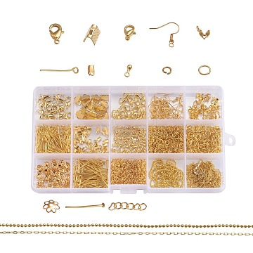 Metal Jewelry Findings Kits, with Iron Head /Eye Pins, Folding Crimp Ends, Bead Tips Knot Covers/Ribbon Ends/Twist Chain Extensions, Alloy Lobster Claw Clasps, Brass Chains and Earring Hooks, Golden, 6~22x1~7mm(FIND-YW0001-05G)