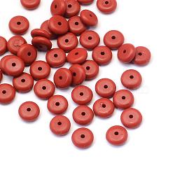 Rondelle Cinnabar Beads, FireBrick, 8x3mm, Hole: 1~2mm(CARL-Q003-04A)