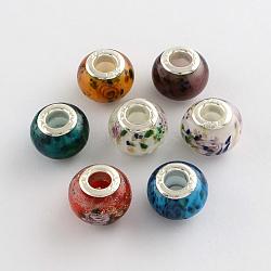 rondelle chalumeau grand trou perles européennes, avec des noyaux de laiton de ton argent, couleur mélangée, 13~14x10~11 mm, trou: 5 mm(X-LPDL-R003-04)