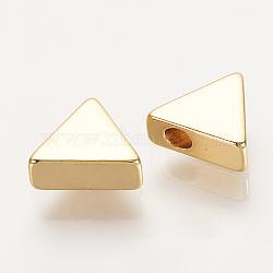 Perles en laiton, véritable plaqué or, triangle, 7x8x3mm, Trou: 1.5mm(X-KK-Q735-206G)