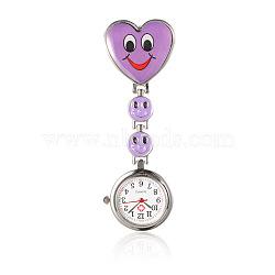 Montres alliage tableau coeur de l'infirmière de poche, avec une bande en alliage de montre de l'émail et clips de fer, mediumorchid, 87 mm; cadran montre: 29x7.5 mm; boitier montre: 20.5 mm; coeur: 31x30x16 mm(WACH-N007-02D)