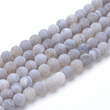 6mm LightGrey Round Crackle Agate Beads