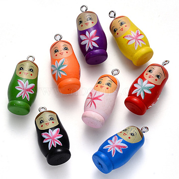 Spray Painted Maple Wood Pendants, Printed, with Iron Findings, Doll, Mixed Color, 38~39x18mm, Hole: 2mm(X-WOOD-N005-07)