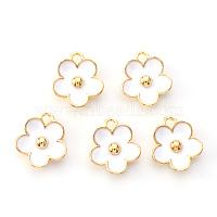 Light Gold Plated Alloy Enamel Pendants, Flower, White, Light Gold, 13x11.5x3mm, Hole: 1.6mm