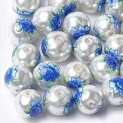 Perles de verre imprimées et peintes au pistolet, ronde avec motif de fleurs, gainsboro, 10~10.5x9.5mm, Trou: 1.6mm(X-GLAA-S047-06B-05)