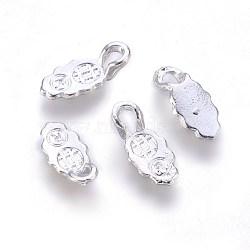 Cales plates en alliage à coller pour la fabrication de pendentifs, argenterie, 13x6x4mm, Trou: 3x2mm(PALLOY-WH0021-01S)