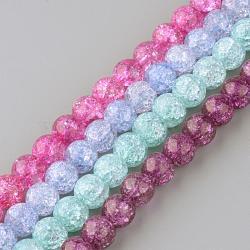 Chapelets de perles en quartz craquelé synthétique, rond, teint, couleur mixte, 8mm, trou: 1mm; environ 50 pcs/chapelet, 15.7''(GLAA-S134-8mm-M)