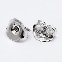 Écrou d'oreille en 925 argent sterling, sculpté 925, platine, 6x6.5x3.5mm, Trou: 1mm(STER-K167-041P)