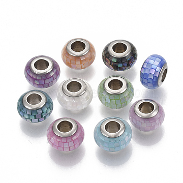 Shell European Beads, with Epoxy Resin and Brass Cores, Large Hole Beads, Rondelle, Platinum, Mixed Color, 12x8mm, Hole: 5mm(KK-N222-06)