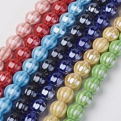 Chapelets de perles en porcelaine manuelle, nacré, citrouille, couleur mixte, 13mm, trou: 2mm; environ 25 pcs/chapelet, 12.6''(PORC-P023-M)