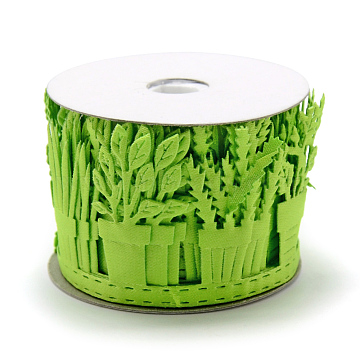 Polyester Ribbons, Pot Culture, LawnGreen, 1-5/8inches(40mm); about 2yards/roll(1.8288m/roll)(SRIB-S048-17A)