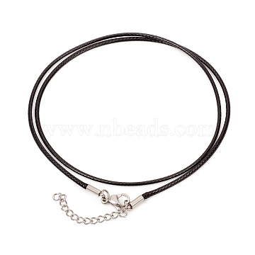 Waxed Polyester Cord Necklaces Making, with 304 Stainless Steel Lobster Claw Clasps, Stainless Steel Color, Black, 18.7 inches(47.5cm)1.5mm(X-MAK-G014-08P)