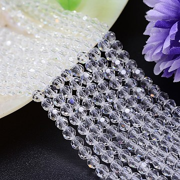 Imitation Austrian Crystal Bead Strands, Grade AAA, Faceted Round, Clear, 6mm, Hole: 0.7~0.9mm, about 68pcs/strand, 15.7 inches(G-M181-6mm-01A)