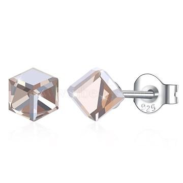 4mm Sterling Silver+Austrian Crystal Stud Earrings