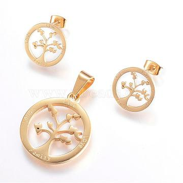 304 Stainless Steel Jewelry Sets, Pendants and Stud Earrings, Flat Round with Tree, Golden, 28x25x2mm, Hole: 5x9.5mm; 16x1.2mm; Pin: 0.8mm(SJEW-P080-16G)