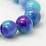 Jade Beads Strands, Natural White Jade, Dyed, Round, Colorful, 6mm, Hole: 1mm; about 69pcs/strand, 15.7 inches