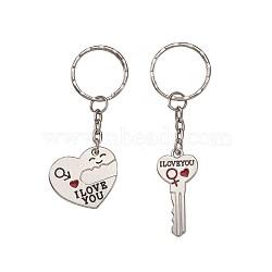 porte-clés pendentif en alliage émail fendu, avec strass et porte-clés en fer, coeur avec clé, platine, 2 PCs / ensemble(KEYC-TA0005-05)