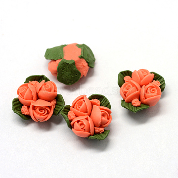 Handmade Porcelain Cabochons, China Clay Beads, Flower, Tomato, 15.5~17.5x15~17x8~9mm(PORC-S1003-22G)
