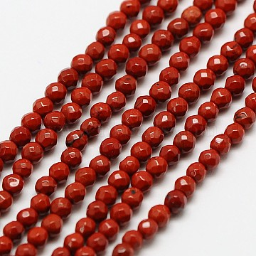 Natural Red Jasper Bead Strands, Faceted Round, 3mm, Hole: 0.8mm, about 136pcs/strand, 16 inches(X-G-A129-3mm-23)