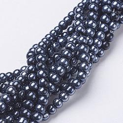 perles de verre brins, lustre perle plaqué, arrondir, noir, sur 4 mm de diamètre, trou: 1 mm; environ 80 perle / brin, 13(X-GR4mm27Y-B)