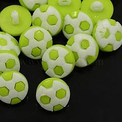 Boutons en acrylique, 1-trou, teint, le football / soccer, 'Chartreuse , 16x4mm, Trou: 4x2mm(X-BUTT-E065-A-09)