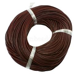 Кожаный шнур бисером, натуральной кожи, DIY ожерелье делая материал, цвет шоколада, 3 мм, о 1 м / прядь