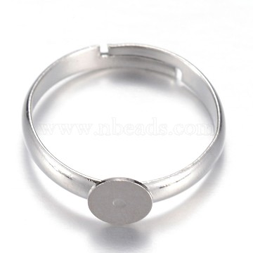 Adjustable Brass Pad Ring Setting Components, Flat Round, Size 7, Platinum, Tray: 6mm; 17mm(X-KK-P039-04-6mm)