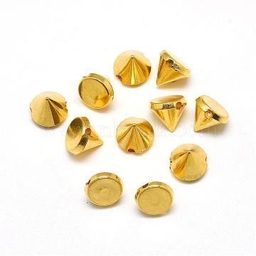 ABS Plastic Rivet Beads, Rivets for Punk Jewelry, Cone, Golden Plated, 8x8mm, Hole: 2mm(GACR-Q054-8mm-G)