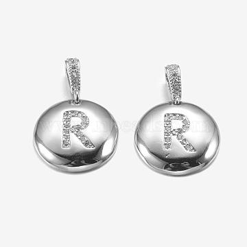 Platinum Flat Round Brass+Cubic Zirconia Pendants