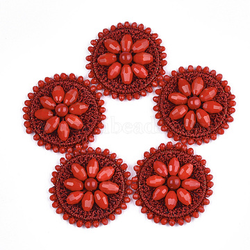 47mm Red Flat Round Glass Cabochons