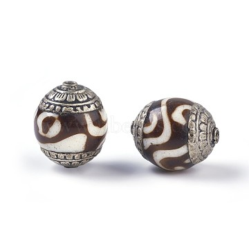 Tibetan Style Beads, with Brass, Synthetic Turquoise, Oval, Antique Silver, Coffee, 18~20x15~16mm, Hole: 1.4mm(TIBEB-E079-07C)