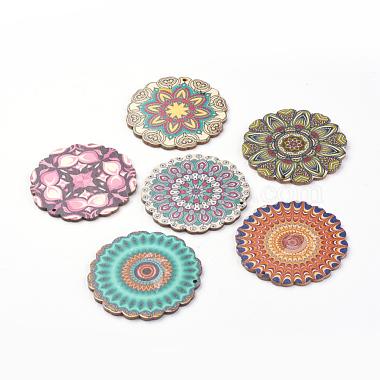 59mm Mixed Color Flower Wood Pendants