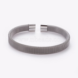 304 Stainless Steel Mesh Bangles, Cuff Bangles, Stainless Steel Color, 2-3/8 inchesx1-3/4 inches(6x4.6cm)(X-AJEW-O172-08P)