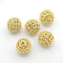 Латунные бусины со стразами , круглые, без никеля , золотые, диаметром около 20 мм , отверстие : 2.5 мм(X-RSB081-NFG)