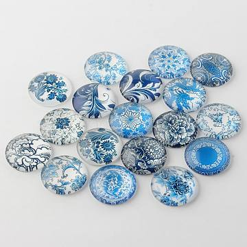 Blue and White Floral Printed Glass Cabochons, Half Round/Dome, SteelBlue, 10x4mm(X-GGLA-A002-10mm-XX)