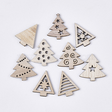 Christmas Theme Laser Cut Wood Shapes, Unfinished Wooden Embellishments, Wooden Cabochons, Christmas Tree, PapayaWhip, 25.5~27x21.5~26x2.5mm(X-WOOD-T011-63)