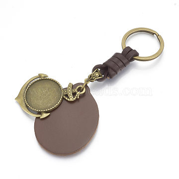 Alloy Cabochon Settings Keychain, with Imitation Leather Pendants & Iron Rings, Anchor, Antique Bronze, Tray: 25mm; 124mm(X-KEYC-R028-04)